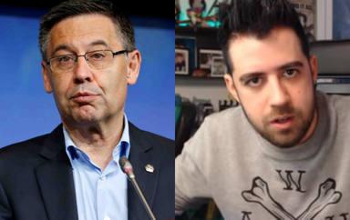El último 'troleo' de AuronPlay a Josep Maria Bartomeu en el palco del Camp Nou