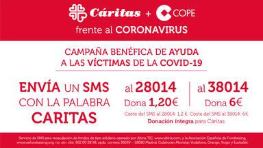 Grupo COPE lanza una campaña de donación por SMS a favor de Cáritas para ayudar a las víctimas del coronavirus
