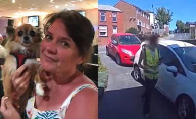 La inesperada reacción de un repartidor al ser sorprendido por un perro en la puerta de una casa