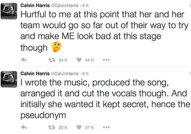 Tuits de Calvin Harris sobre Taylor Swift