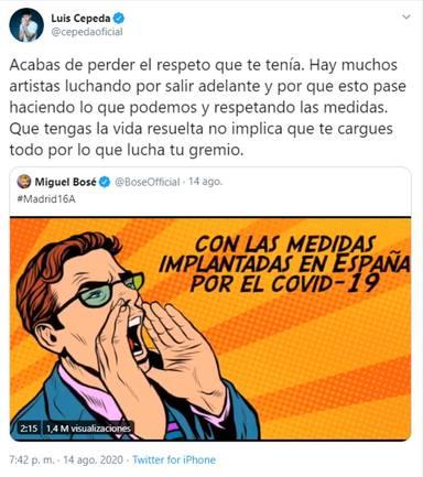 El enfrentamiento de Miguel Bosé y Luis Cepeda por las mascarillas