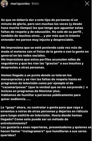 María Pombo no aguanta más y da esta respuesta ante las críticas en redes sociales