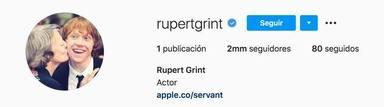 Rupert Grint se hace Instagram y sus fans se sorprenden con estos detalles
