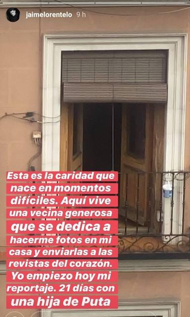 Jaime Lorente denunciando en Instagram