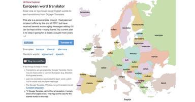 El mapa que traduce las palabras a cualquier idioma de Europa